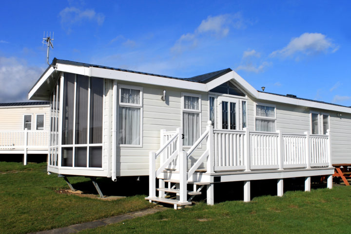 mobile home under blue sky