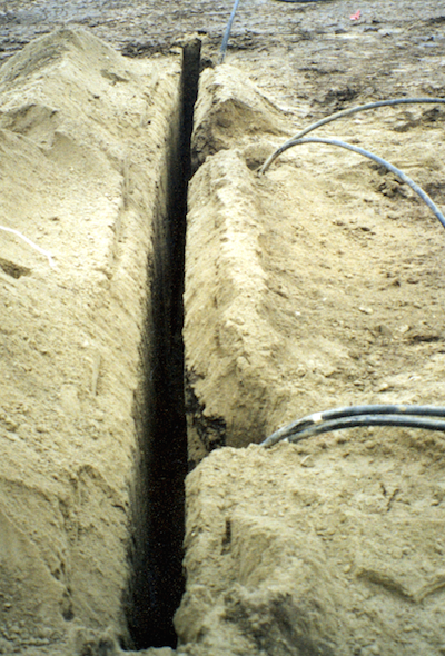 Trenching next to ground loops