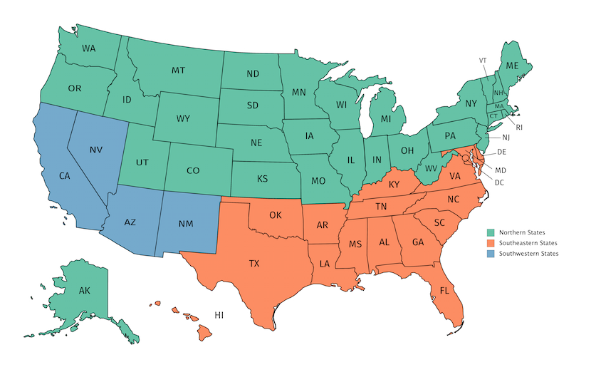 Minimum SEER by State and Region